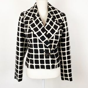 NWT Tracy Reese Crop Box Jacket Black Ecru 4